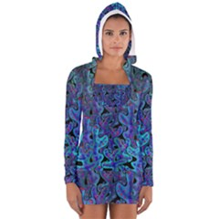 Blue Coral Women s Long Sleeve Hooded T-shirt by Valentinaart