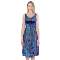 Blue Coral Midi Sleeveless Dress by Valentinaart