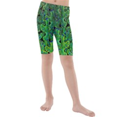 Green Corals Kids  Mid Length Swim Shorts by Valentinaart
