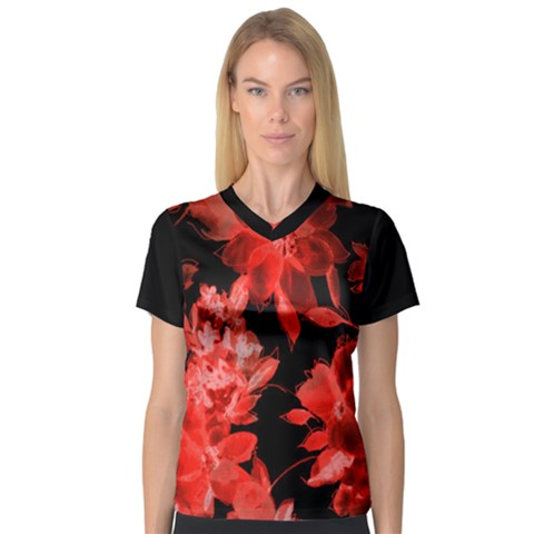 Red Flower  Women s V-neck Sport Mesh Tee by Brittlevirginclothing
