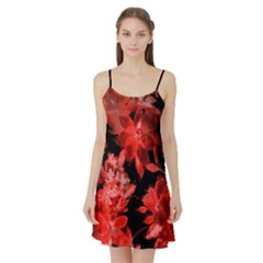 Red Flower  Satin Night Slip by Brittlevirginclothing