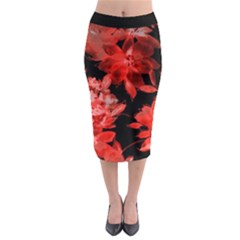 Red Flower  Midi Pencil Skirt by Brittlevirginclothing