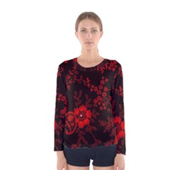 Small Red Roses Women s Long Sleeve Tee by Brittlevirginclothing