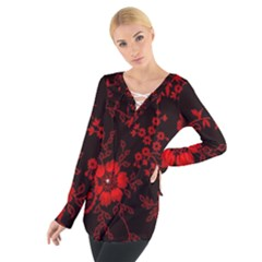 Small Red Roses Women s Tie Up Tee