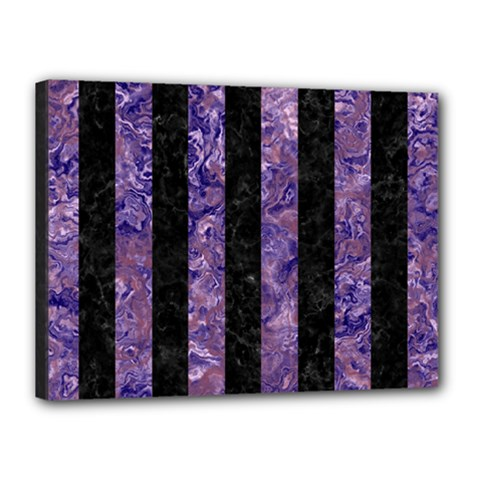 Stripes1 Black Marble & Purple Marble Canvas 16  X 12  (stretched) by trendistuff