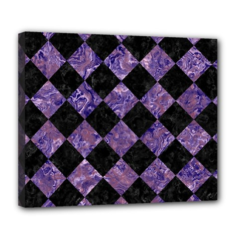 Square2 Black Marble & Purple Marble Deluxe Canvas 24  X 20  (stretched)