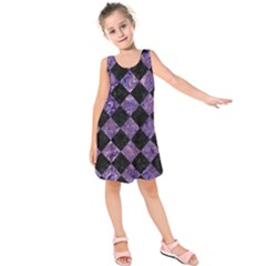 Square2 Black Marble & Purple Marble Kids  Sleeveless Dress