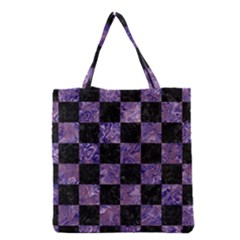 Square1 Black Marble & Purple Marble Grocery Tote Bag by trendistuff
