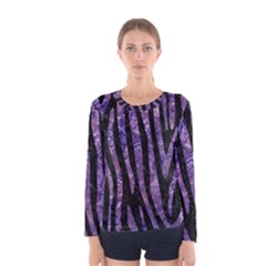 Skin4 Black Marble & Purple Marble (r) Women s Long Sleeve Tee by trendistuff