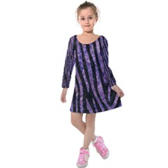 Skin4 Black Marble & Purple Marble (r) Kids  Long Sleeve Velvet Dress by trendistuff