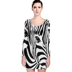 Animal Cute Pattern Art Zebra Long Sleeve Velvet Bodycon Dress