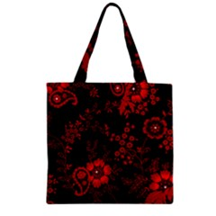 Small Red Roses Zipper Grocery Tote Bag by Brittlevirginclothing