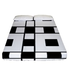 Black And White Pattern Fitted Sheet (queen Size) by Amaryn4rt