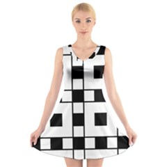 Black And White Pattern V Neck Sleeveless Skater Dress
