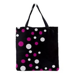 Pink And White Dots Grocery Tote Bag by Valentinaart