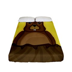 Groundhog Fitted Sheet (full/ Double Size) by Valentinaart
