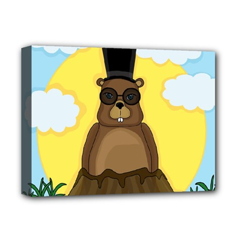 Happy Groundhog Day Deluxe Canvas 16  X 12   by Valentinaart