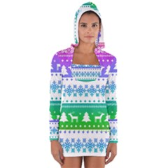 Cute Rainbow Bohemian Women s Long Sleeve Hooded T Shirt by Brittlevirginclothing