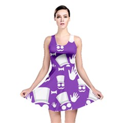 Gentleman Pattern - Purple And White Reversible Skater Dress by Valentinaart