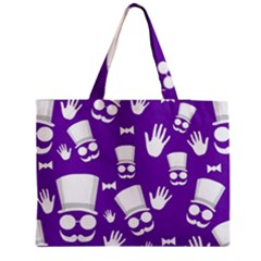 Gentleman Pattern   Purple And White Medium Zipper Tote Bag by Valentinaart