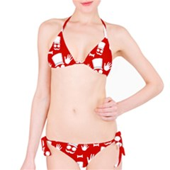 Gentlemen   Red And White Pattern Bikini Set by Valentinaart