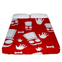 Gentlemen - Red And White Pattern Fitted Sheet (queen Size) by Valentinaart