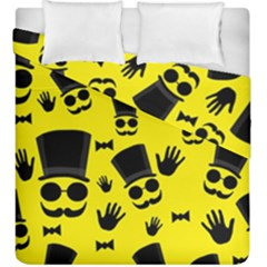 Gentlemen   Yellow Pattern Duvet Cover Double Side (king Size) by Valentinaart