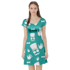 Gentleman Pattern Short Sleeve Skater Dress