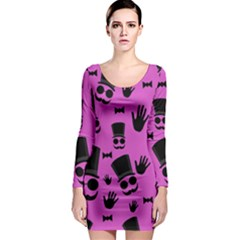 Gentleman   Magenta Pattern Long Sleeve Bodycon Dress