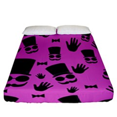 Gentleman   Magenta Pattern Fitted Sheet (california King Size) by Valentinaart