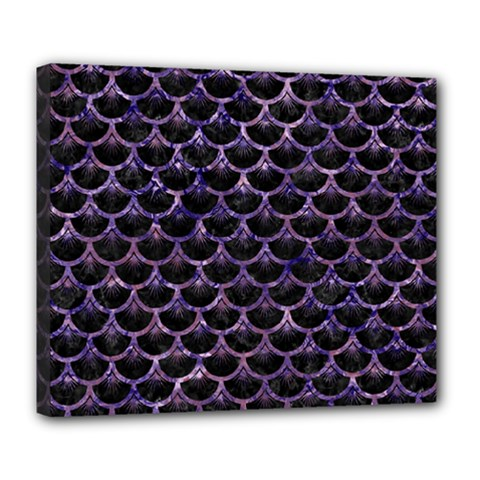Scales3 Black Marble & Purple Marble Deluxe Canvas 24  X 20  (stretched) by trendistuff
