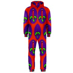 Christmas Candles Seamless Pattern Hooded Jumpsuit (men)