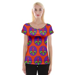 Christmas Candles Seamless Pattern Women s Cap Sleeve Top