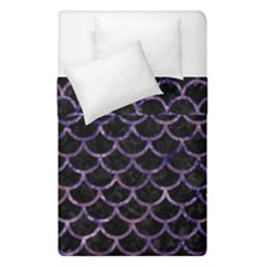 Scales1 Black Marble & Purple Marble Duvet Cover Double Side (single Size)