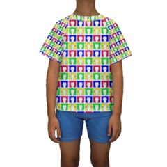 Colorful Curtains Seamless Pattern Kids  Short Sleeve Swimwear