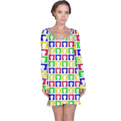 Colorful Curtains Seamless Pattern Long Sleeve Nightdress
