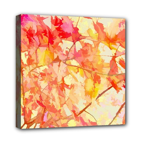 Monotype Art Pattern Leaves Colored Autumn Mini Canvas 8  X 8  by Amaryn4rt