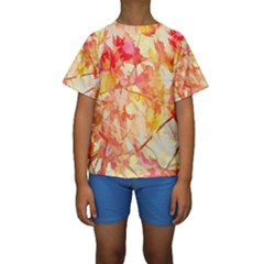 Monotype Art Pattern Leaves Colored Autumn Kids  Short Sleeve Swimwear by Amaryn4rt