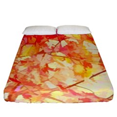 Monotype Art Pattern Leaves Colored Autumn Fitted Sheet (california King Size) by Amaryn4rt