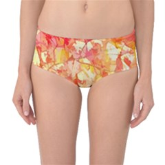 Monotype Art Pattern Leaves Colored Autumn Mid Waist Bikini Bottoms