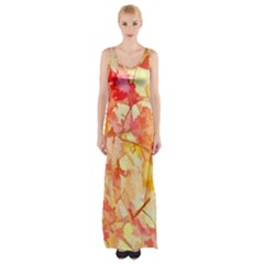 Monotype Art Pattern Leaves Colored Autumn Maxi Thigh Split Dress