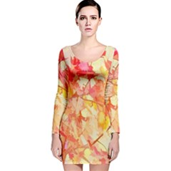 Monotype Art Pattern Leaves Colored Autumn Long Sleeve Velvet Bodycon Dress