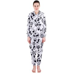 Black White Floral Hooded Jumpsuit (ladies)