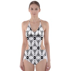 Black White Flower Cut Out One Piece Swimsuit