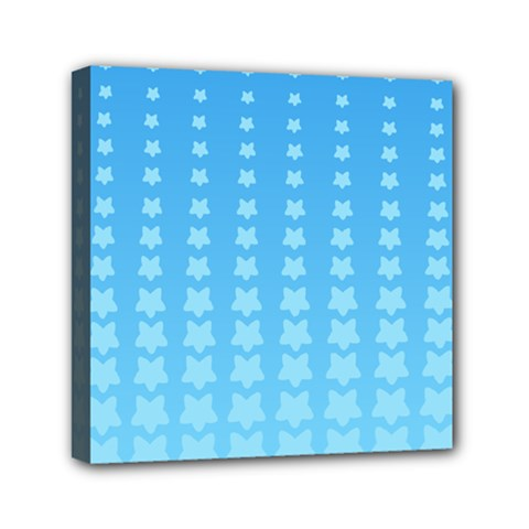 Blue Stars Background Line Mini Canvas 6  X 6