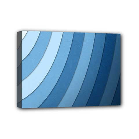 Blue Wave Mini Canvas 7  X 5  by AnjaniArt