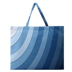 Blue Wave Zipper Large Tote Bag by AnjaniArt
