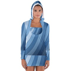 Blue Wave Women s Long Sleeve Hooded T Shirt by AnjaniArt