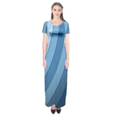 Blue Wave Short Sleeve Maxi Dress by AnjaniArt