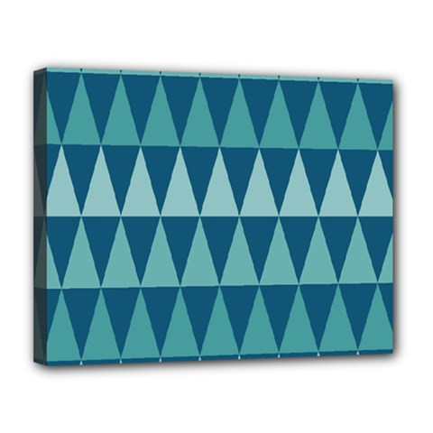 Blues Long Triangle Geometric Tribal Background Canvas 14  X 11  by AnjaniArt